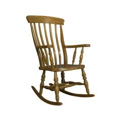 Vintage Windsor Rocking Chair, English, Beech, Armchair, Late 20th Century