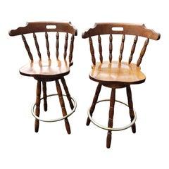 Vintage Windsor Swivel Spindle Turned Legs Bar Stools, a Pair