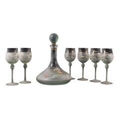 Vintage Wine Serving Set, European, Art Glass, Decanter, Hand Painted