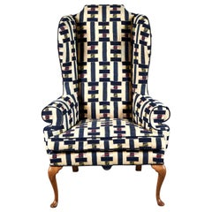 Vintage Wingback Chair in Multicolored Ewe Fabric from Ghana