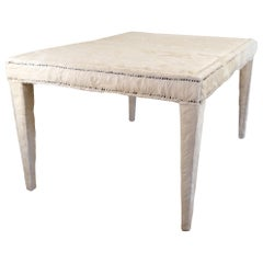 Vintage Winter Cowhide Covered Coffee Table
