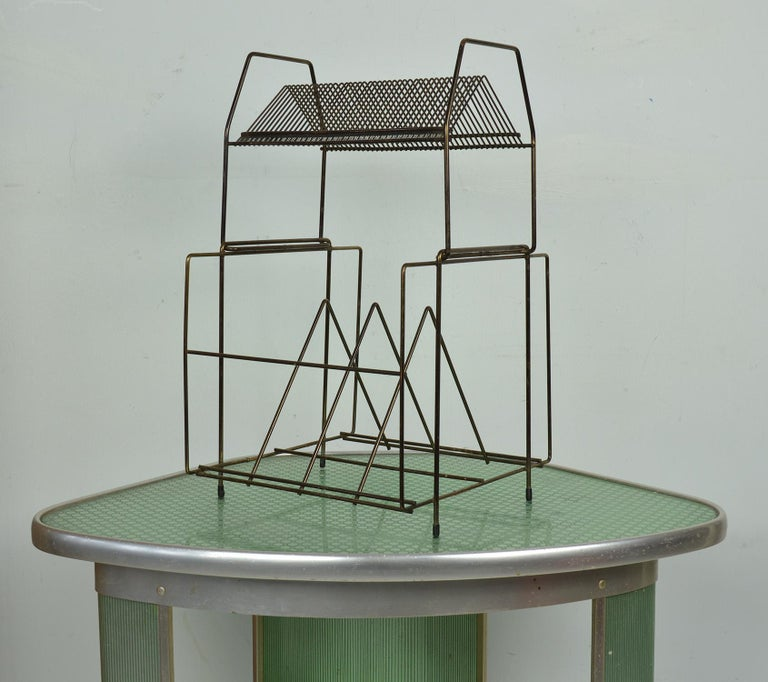 English Vintage Wire Work Vinyl Record Rack, 1960s For Sale