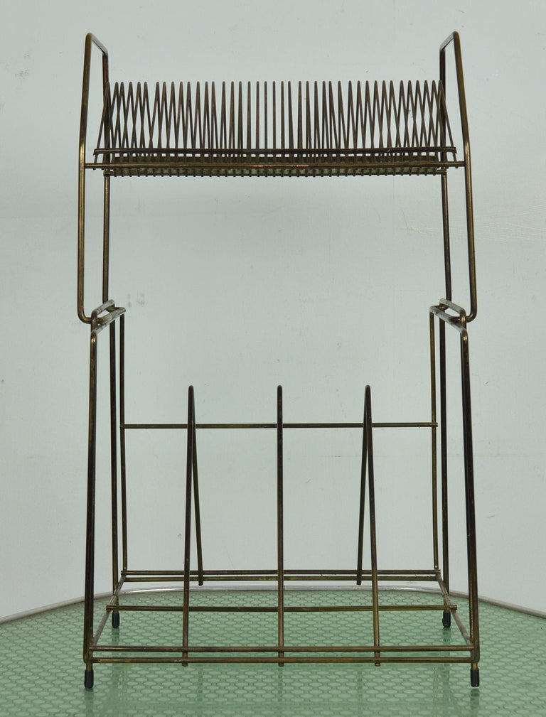 Vintage Wire Work Vinyl Record Rack, 1960s In Good Condition For Sale In St Annes, Lancashire