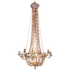 Vintage with 19th Century Metal Details and Vintage Beads Chandelier