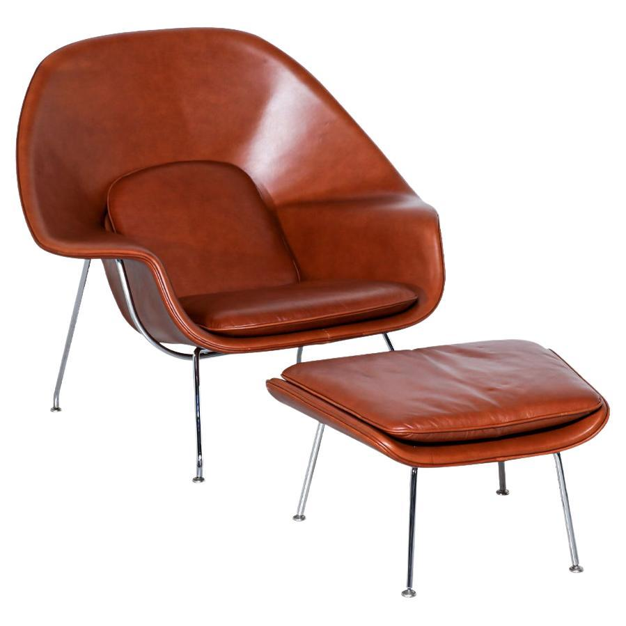 """Vintage """"Womb"""" Cognac Leather Chair with Ottoman by Eero Saarinen for Knoll"""