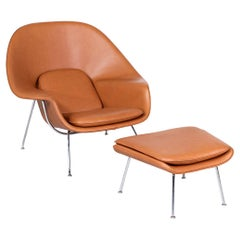 """Vintage """"Womb"""" Tan Leather Chair with Ottoman by Eero Saarinen for Knoll"""