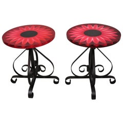 Vintage Wondermold Gamma Associates Red Resin Sun Flower Iron Side Tables, Pair