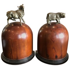 Vintage Wood and Brass Bull and Bear Bookends