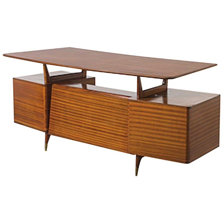 Vintage Wood and Brass Writing Desk, Italian Manufacture, 1950s For Sale