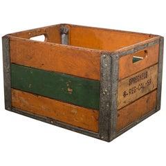 Vintage Wood and Metal Crate, circa 1940-1950s
