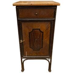 Vintage Wood and Metal Nightstand