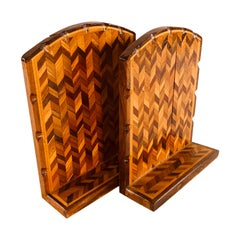 Vintage Wood Chevron Style Bookends, Pair