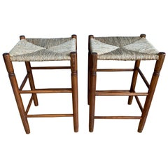 Pair Vintage Wood Country House Stools with Rush Seats Charlotte Perriand Style