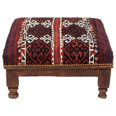 Vintage Wood Foot Stool Newly Upholstered in a Vintage Wool Rug from Turkey
