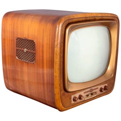 Vintage Wood Geloso Television GT1014, 1950s, Italy