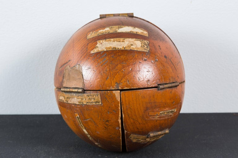 Vintage Wood Geometry Surface and Volume Teaching Sphere For Sale 4