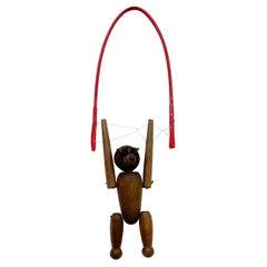 Vintage Wood Monkey on Red Balance Rope Hanging Toy Kay Bojesen Denmark 1960s