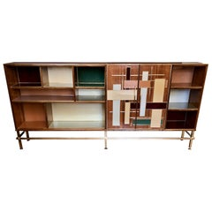 Vintage Wood, Multi-Color Murano Glass & Brass Bookcase w/ Brass & Iron Basement