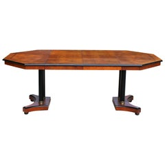Vintage Wood Octagon Expandable Dining Table with 2 Leaves Century Furniture