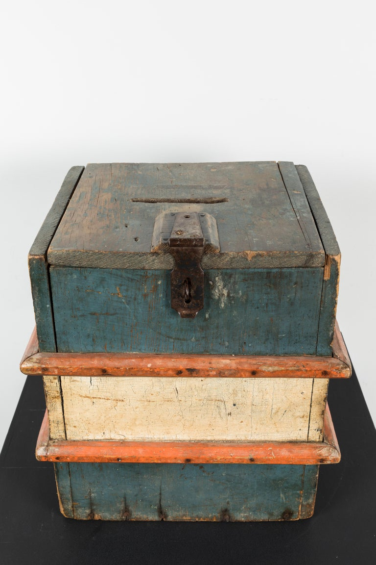 Vintage Wood Red White and Blue Wood Ballot Box American Folk Art In Good Condition For Sale In Santa Monica, CA