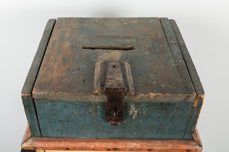 20th Century Vintage Wood Red White and Blue Wood Ballot Box American Folk Art For Sale