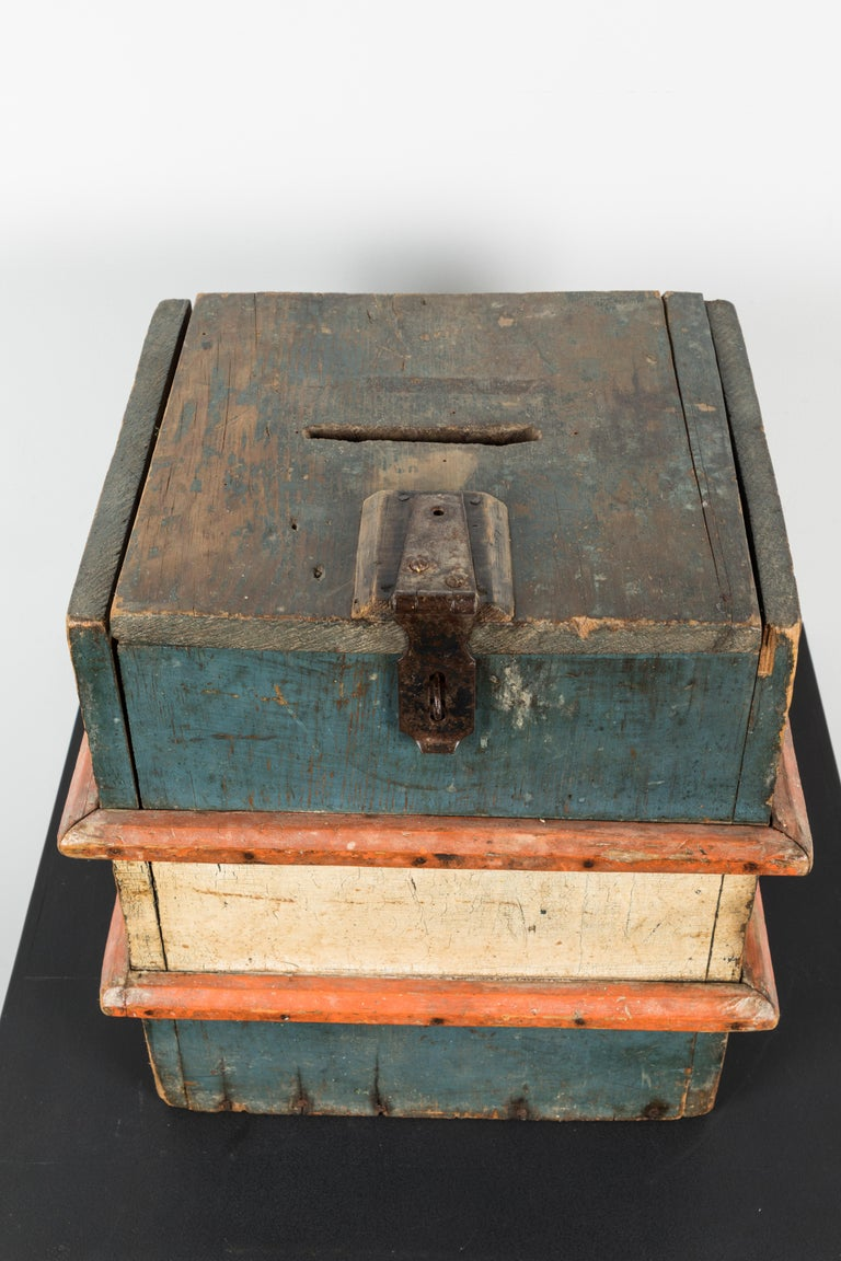Vintage Wood Red White and Blue Wood Ballot Box American Folk Art For Sale 1