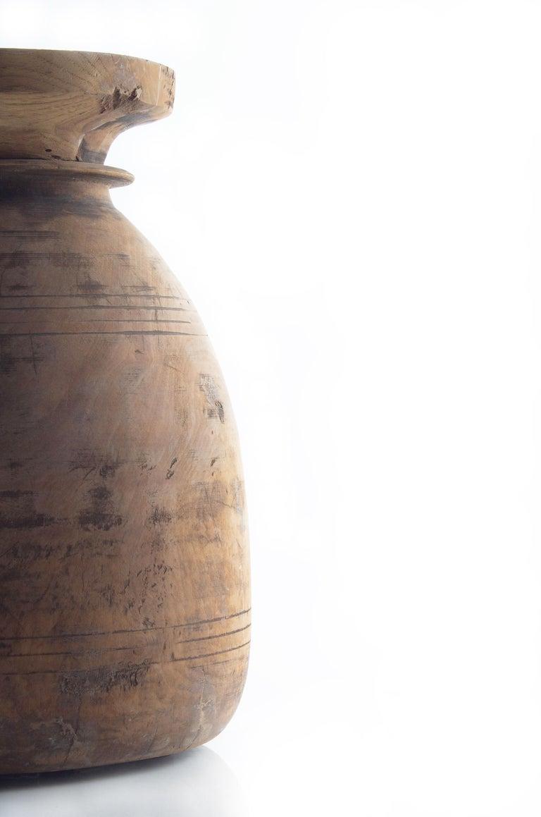South Asian vintage hand-turned wooden storage jar.