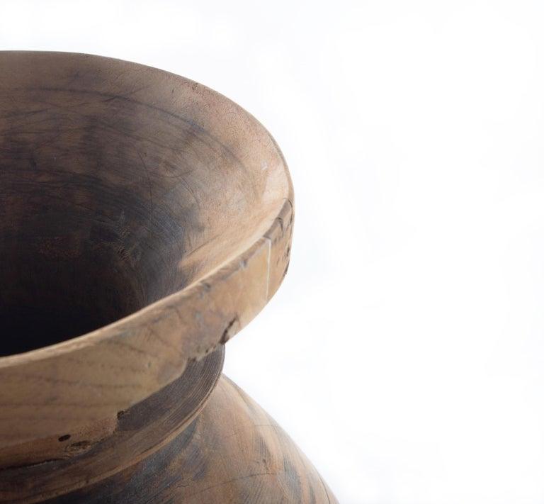 Modern Vintage Wood Storage Jar For Sale