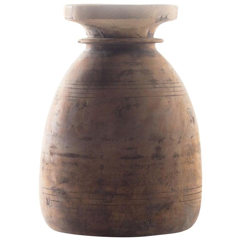 Vintage Wood Storage Jar For Sale