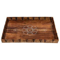 Vintage Wood Tray with Mother of Pearl Inlay