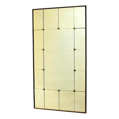 Vintage Wood Wall Mirror with Rectangular Sections, Sweden, 1950s