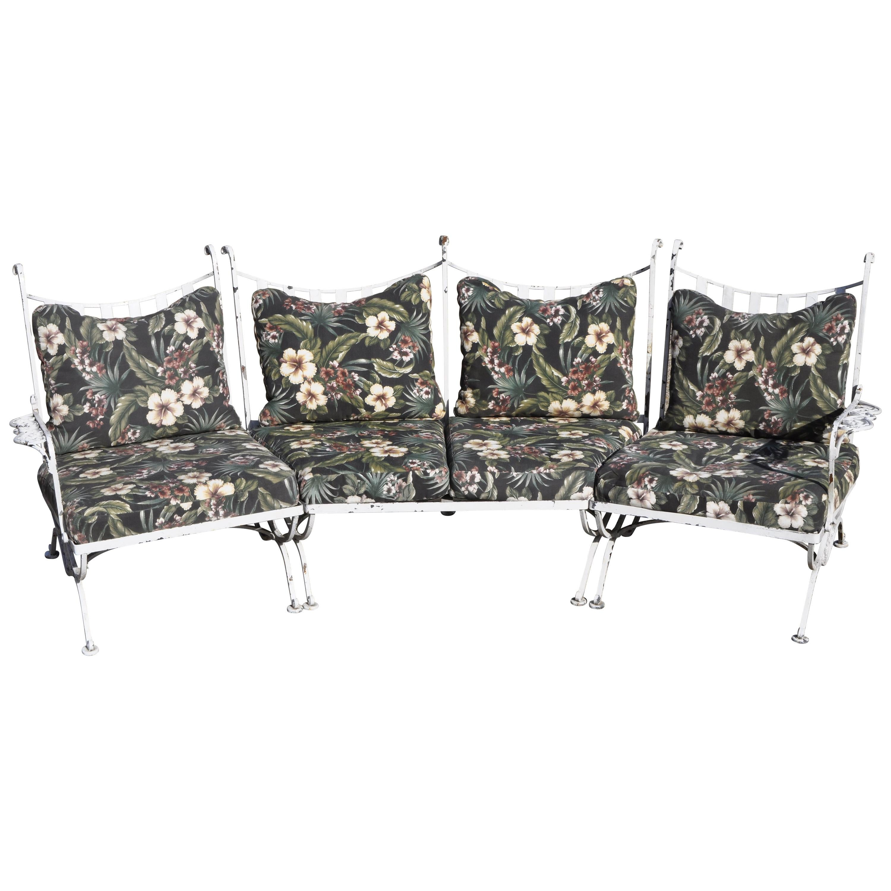Vintage Woodard Andalusian Wrought Iron 3-Piece Curved Sunroom Garden Patio Sofa