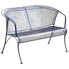 Vintage Woodard Blue Barrel Back Wrought Iron Rose Pattern Outdoor Patio Bench