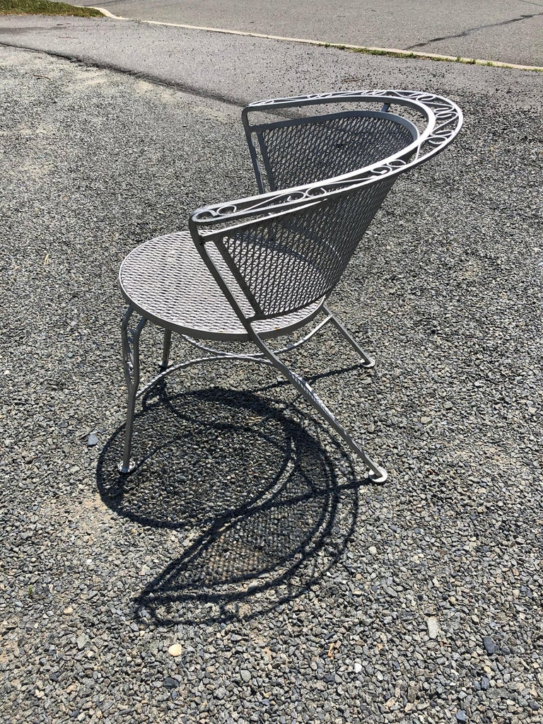 Iron Vintage Woodard Midcentury Outdoor Dining Set with Round Table and 4 Chairs For Sale