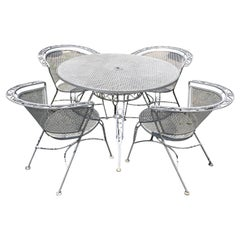 Vintage Woodard Midcentury Outdoor Dining Set with Round Table and 4 Chairs