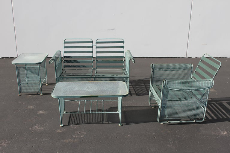 Vintage Woodard Patio Set with Gliders in the Style of Josef Hoffmann For Sale 10
