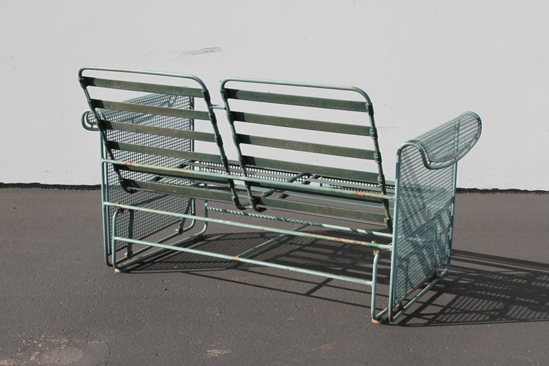 American Vintage Woodard Patio Set with Gliders in the Style of Josef Hoffmann For Sale