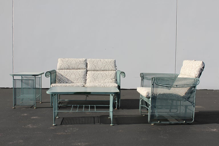 Vintage Woodard Patio Set with Gliders in the Style of Josef Hoffmann In Good Condition For Sale In St. Louis, MO