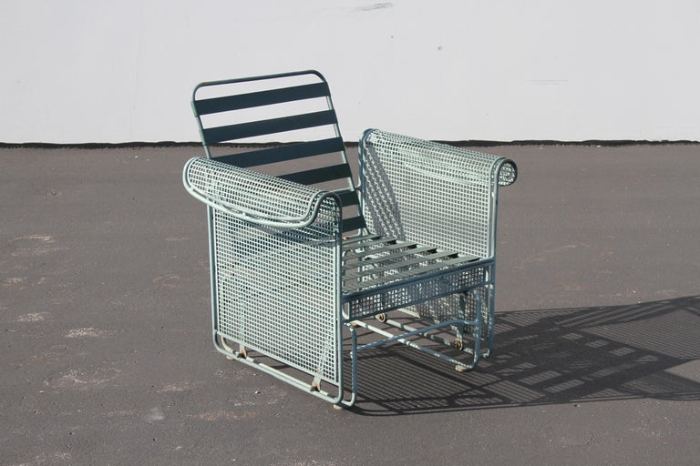 Mid-20th Century Vintage Woodard Patio Set with Gliders in the Style of Josef Hoffmann For Sale