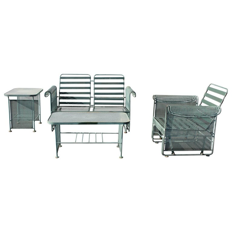 Vintage Woodard Patio Set with Gliders in the Style of Josef Hoffmann For Sale