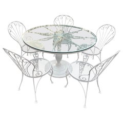 Vintage Woodard Round Dining Table and Set of 5 Bistro Chairs