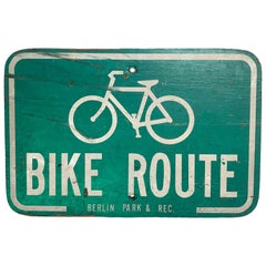 Vintage Wooden Bike Route Sign