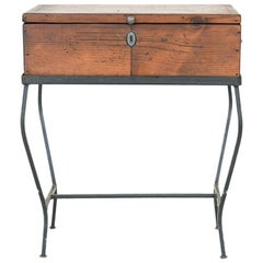 Vintage Wooden Box on Iron Stand