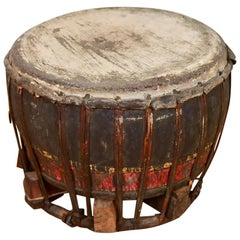 Vintage Wooden Drum with Leather Fastenings, 20th Century