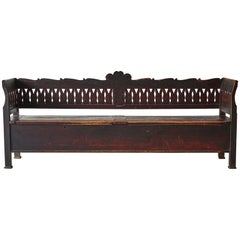 Vintage Wooden Folk Bench with Storage