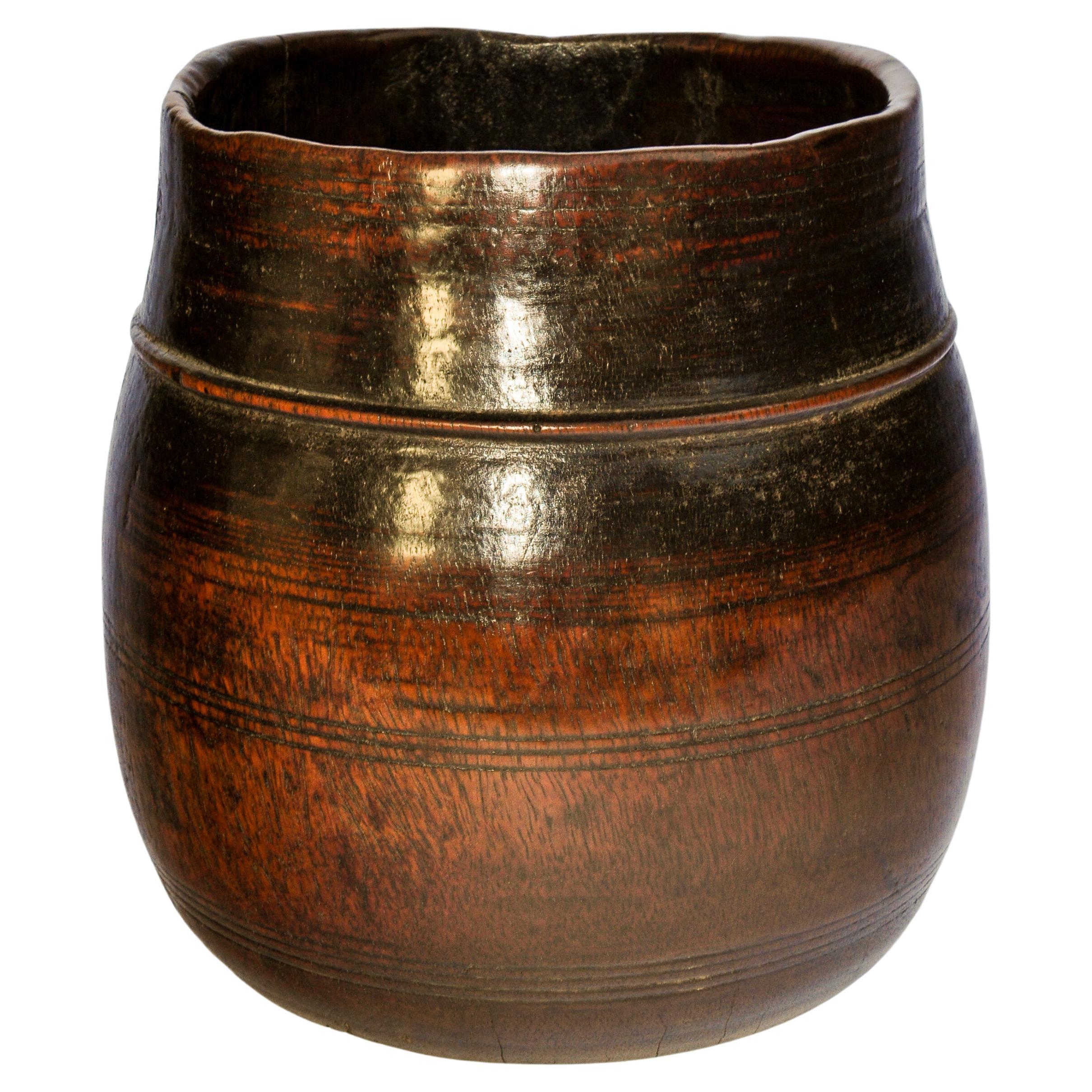 Vintage Wooden Grain Measure Pot from the Mountains of Nepal, Mid-20th Century