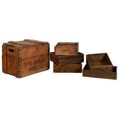 Vintage Wooden Grocery Storage Crates, 20th Century
