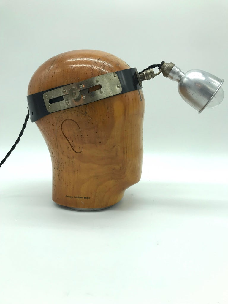 Industrial Vintage Wooden Hat or Wig Stand Lamp For Sale