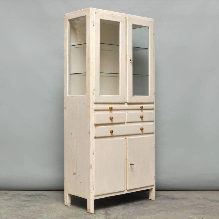 Industrial Vintage Wooden Medical Cabinet, 1940s For Sale