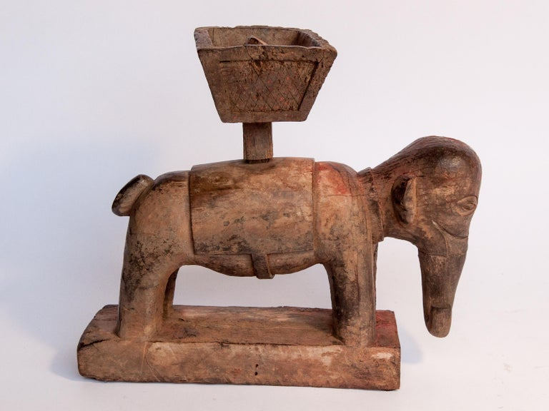 Folk Art Vintage Wooden Offering Holder Elephant Motif Newar of Nepal Mid-20th Century For Sale